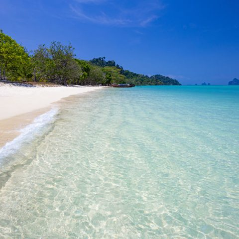 Longtail boat on tropical koh Kradan island in Thailand. Landscape taken on main long sunrise beach with blue sky and white sand.